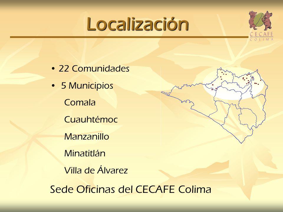 Localización 22 Comunidades 5 Municipios Comala Cuauhtémoc Manzanillo Minatitlán Villa de Álvarez Sede Oficinas del CECAFE Colima