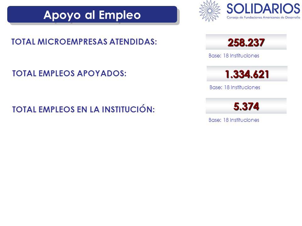 Apoyo al Empleo 258.237 TOTAL MICROEMPRESAS ATENDIDAS: Base: 18 Instituciones 1.334.621 TOTAL EMPLEOS APOYADOS: Base: 18 Instituciones 5.374 TOTAL EMPLEOS EN LA INSTITUCIÓN: Base: 18 Instituciones