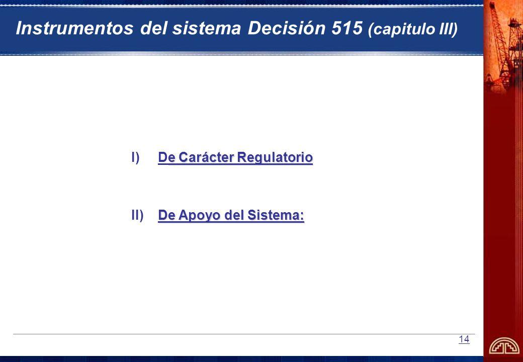 14 e Carácter Regulatorio I)De Carácter Regulatorio De Apoyo del Sistema: II) De Apoyo del Sistema: Instrumentos del sistema Decisión 515 (capitulo II