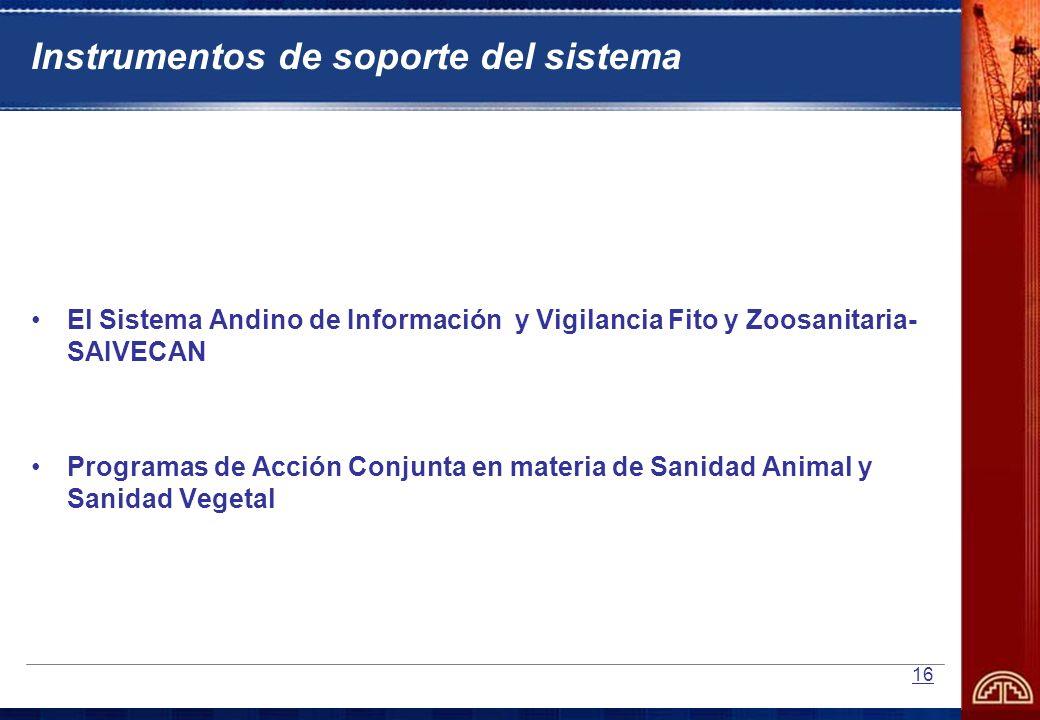 16 Instrumentos de soporte del sistema El Sistema Andino de Información y Vigilancia Fito y Zoosanitaria- SAIVECAN Programas de Acción Conjunta en mat