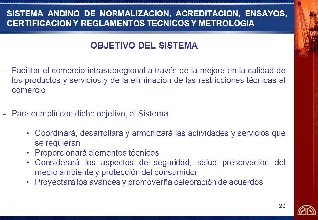 20 SISTEMA ANDINO DE NORMALIZACION, ACREDITACION, ENSAYOS, CERTIFICACION Y REGLAMENTOS TECNICOS Y METROLOGIA OBJETIVO DEL SISTEMA -Facilitar el comerc
