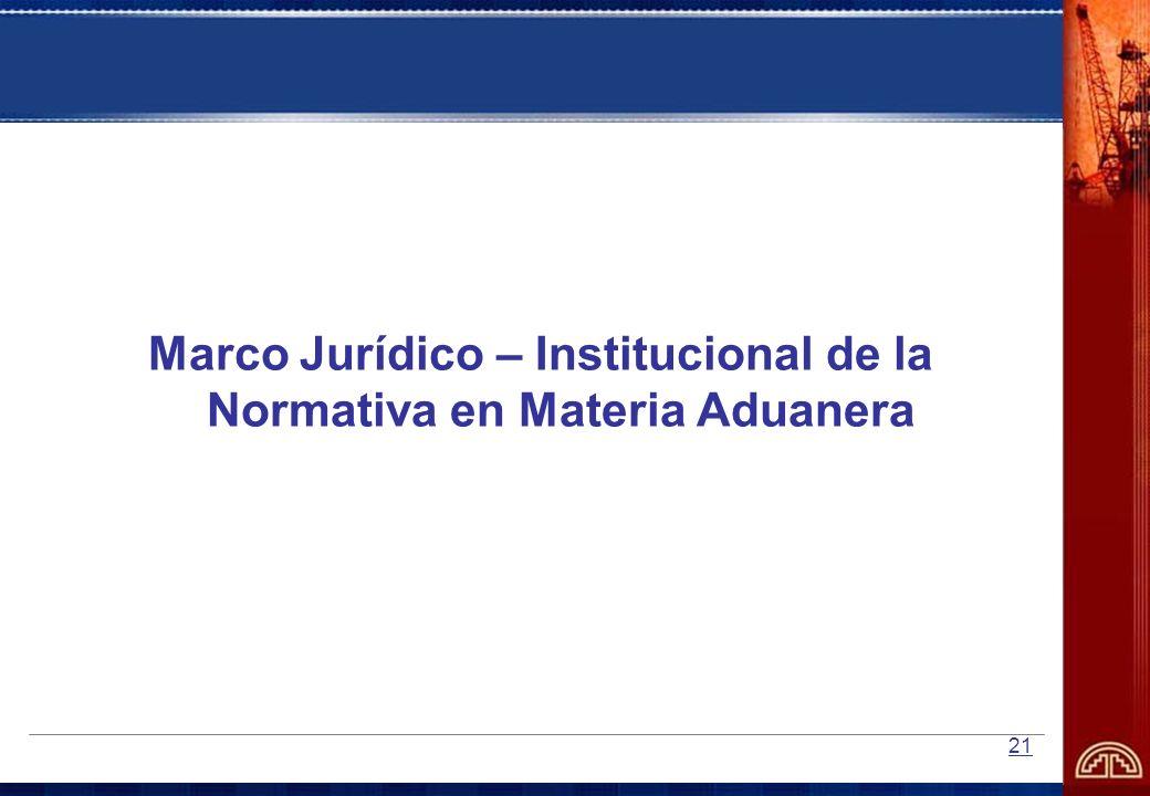 21 Marco Jurídico – Institucional de la Normativa en Materia Aduanera