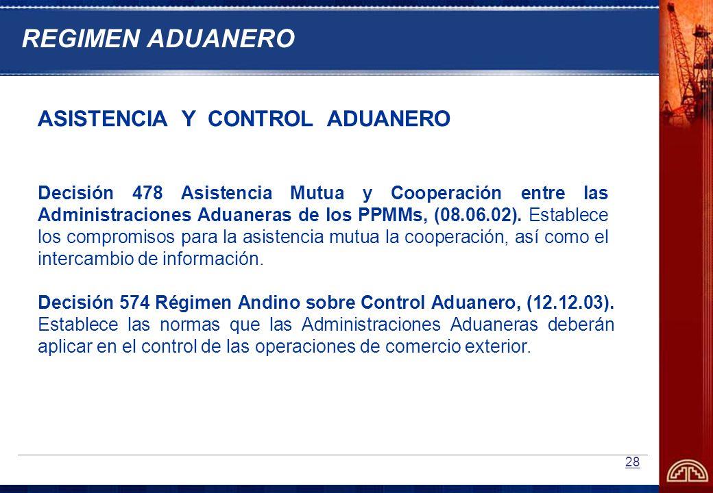 28 ASISTENCIA Y CONTROL ADUANERO Decisión 478 Asistencia Mutua y Cooperación entre las Administraciones Aduaneras de los PPMMs, (08.06.02). Establece