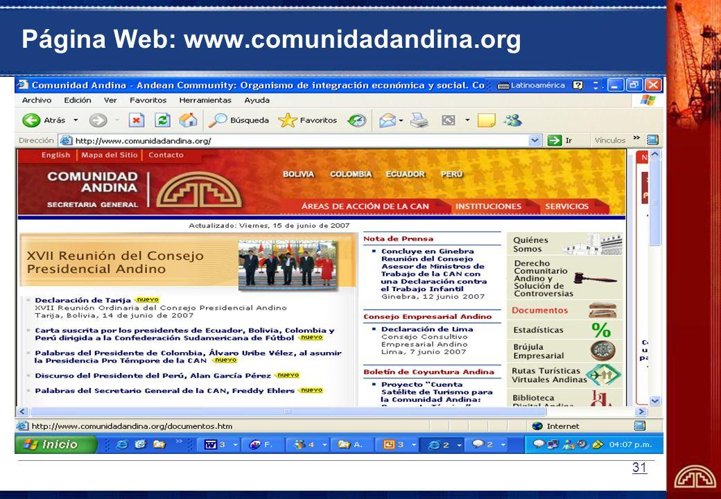 31 Página Web: www.comunidadandina.org