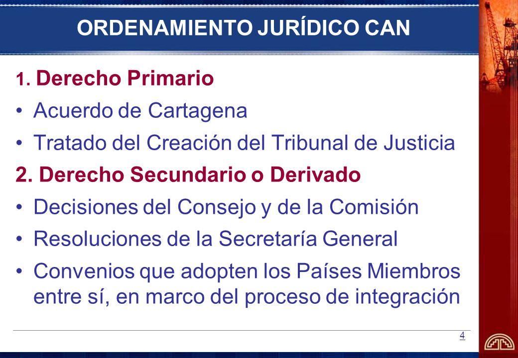 4 ORDENAMIENTO JURÍDICO CAN 1. Derecho Primario Acuerdo de Cartagena Tratado del Creación del Tribunal de Justicia 2. Derecho Secundario o Derivado De