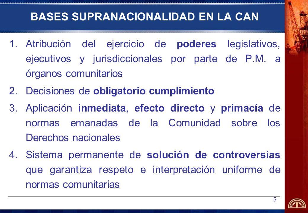 5 BASES SUPRANACIONALIDAD EN LA CAN 1.Atribución del ejercicio de poderes legislativos, ejecutivos y jurisdiccionales por parte de P.M. a órganos comu