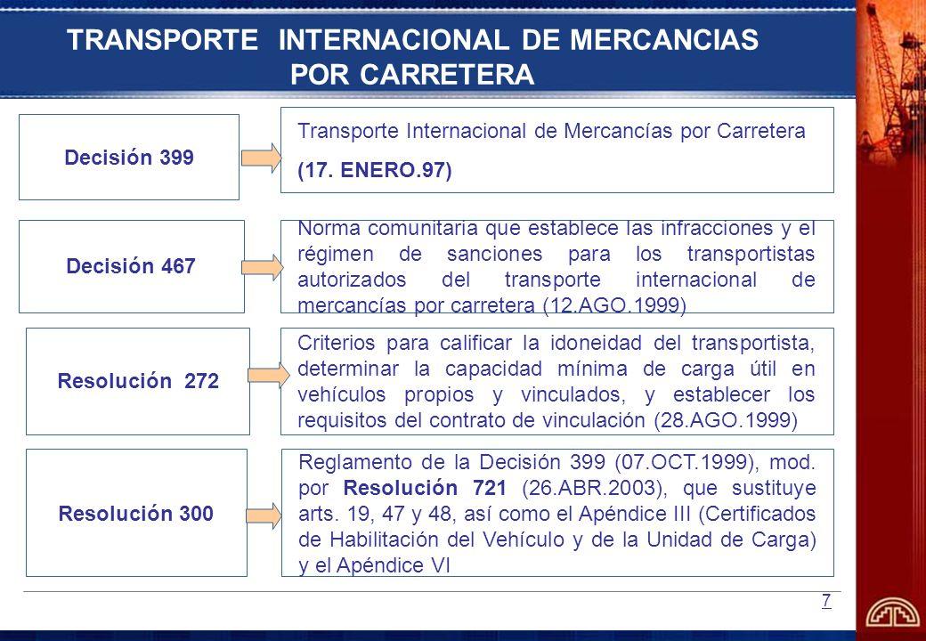 8 TRANSPORTE INTERNACIONAL DE MERCANCIAS Y PASAJEROS POR CARRETERA Decisión 290 Póliza Andina de Seguro de Responsabilidad Civil para el Transportador Internacional por Carretera (21.MAR.1991) Decisión 491 Reglamento Técnico Andino sobre Límites de Pesos y Dimensiones de los Vehículos destinados al Transporte Internacional de Pasajeros y Mercancías por Carretera (09.FEB.2001) Decisión 271 Sistema Andino de Carreteras (19.OCT.1990), modificada por Decisión 277 (23.NOV.1990) Decisión 434 Creación del Comité Andino de Autoridades de Transporte Terrestre (CAATT) – 11.JUN.1998