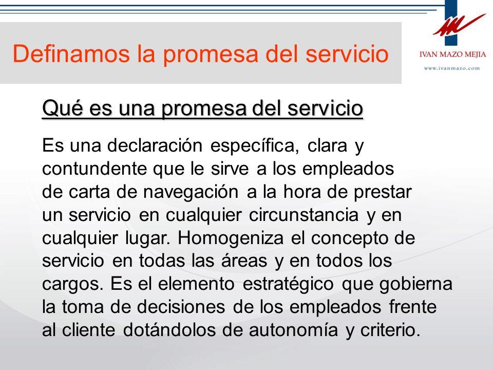 Promesa de servicio Atributos del servicio Mandamientos del servicio. Estrategia Definen el cómo Atacan a la vieja cultura