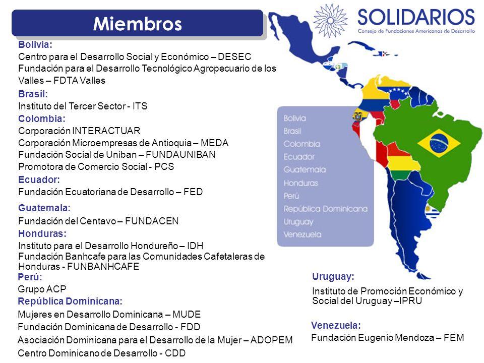 Miembros República Dominicana: Mujeres en Desarrollo Dominicana – MUDE Fundación Dominicana de Desarrollo - FDD Asociación Dominicana para el Desarrollo de la Mujer – ADOPEM Centro Dominicano de Desarrollo - CDD Colombia: Corporación INTERACTUAR Corporación Microempresas de Antioquia – MEDA Fundación Social de Uniban – FUNDAUNIBAN Promotora de Comercio Social - PCS Bolivia: Centro para el Desarrollo Social y Económico – DESEC Fundación para el Desarrollo Tecnológico Agropecuario de los Valles – FDTA Valles Uruguay: Instituto de Promoción Económico y Social del Uruguay –IPRU Guatemala: Fundación del Centavo – FUNDACEN Honduras: Instituto para el Desarrollo Hondureño – IDH Fundación Banhcafe para las Comunidades Cafetaleras de Honduras - FUNBANHCAFE Brasil: Instituto del Tercer Sector - ITS Ecuador: Fundación Ecuatoriana de Desarrollo – FED Venezuela: Fundación Eugenio Mendoza – FEM Perú: Grupo ACP