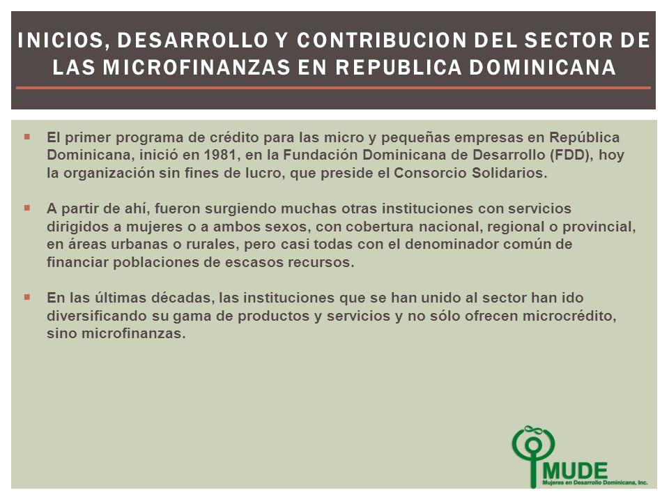 El primer programa de crédito para las micro y pequeñas empresas en República Dominicana, inició en 1981, en la Fundación Dominicana de Desarrollo (FDD), hoy la organización sin fines de lucro, que preside el Consorcio Solidarios.