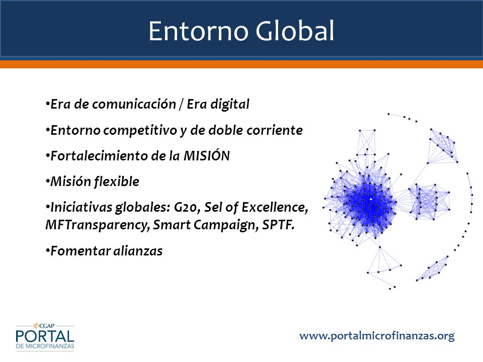 Entorno Global   Era de comunicación / Era digital Entorno competitivo y de doble corriente Fortalecimiento de la MISIÓN Misión flexible Iniciativas globales: G20, Sel of Excellence, MFTransparency, Smart Campaign, SPTF.
