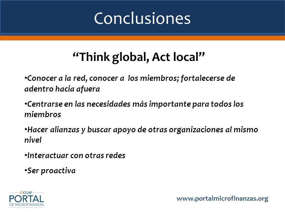 Conclusiones www.portalmicrofinanzas.org Think global, Act local Conocer a la red, conocer a los miembros; fortalecerse de adentro hacia afuera Centra