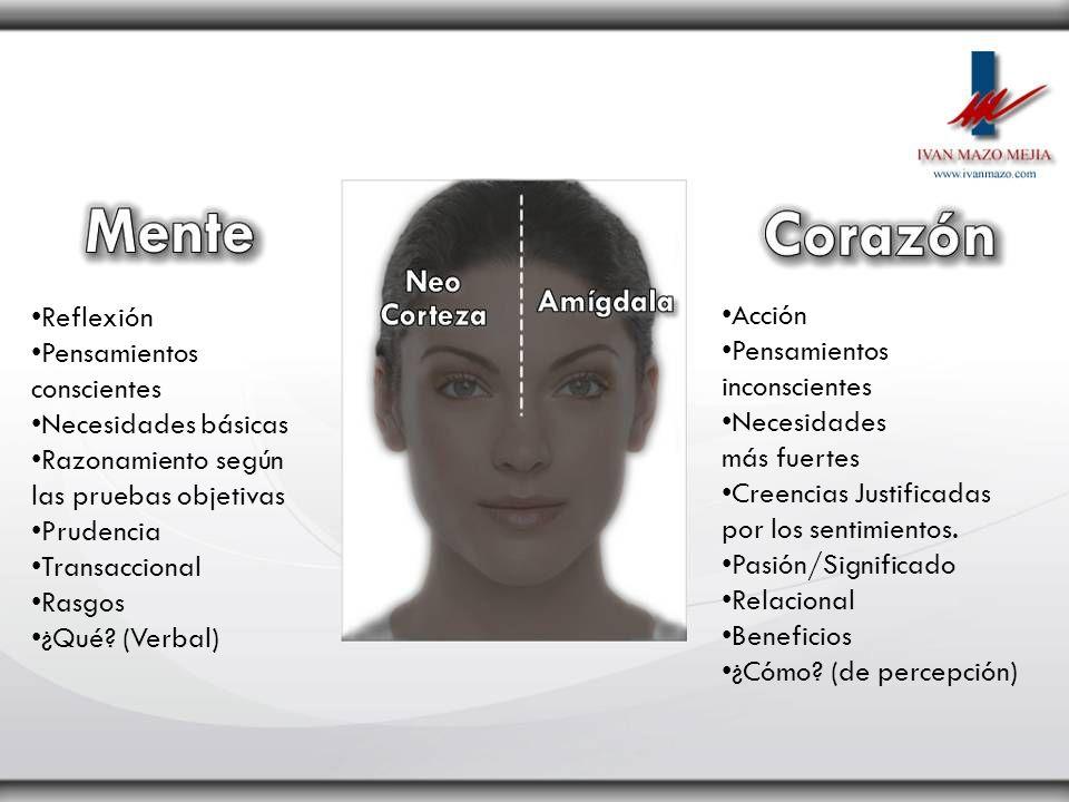 Reflexión Pensamientos conscientes Necesidades básicas Razonamiento según las pruebas objetivas Prudencia Transaccional Rasgos ¿Qué? (Verbal) Acción P