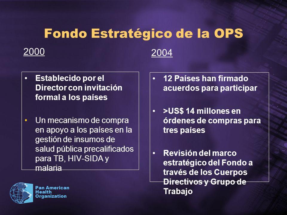 Pan American Health Organization Fondo Estratégico de la OPS Establecido por el Director con invitación formal a los países Un mecanismo de compra en