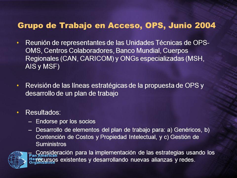 Pan American Health Organization Grupo de Trabajo en Acceso, OPS, Junio 2004 Reunión de representantes de las Unidades Técnicas de OPS- OMS, Centros C