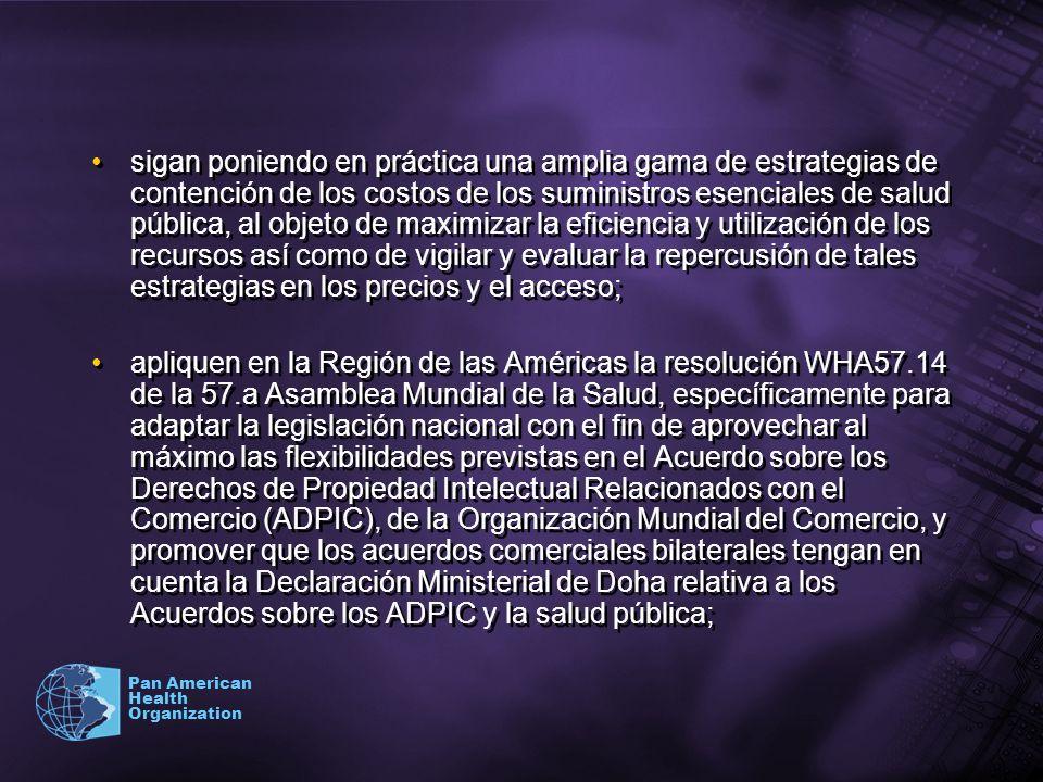 Pan American Health Organization sigan poniendo en práctica una amplia gama de estrategias de contención de los costos de los suministros esenciales d
