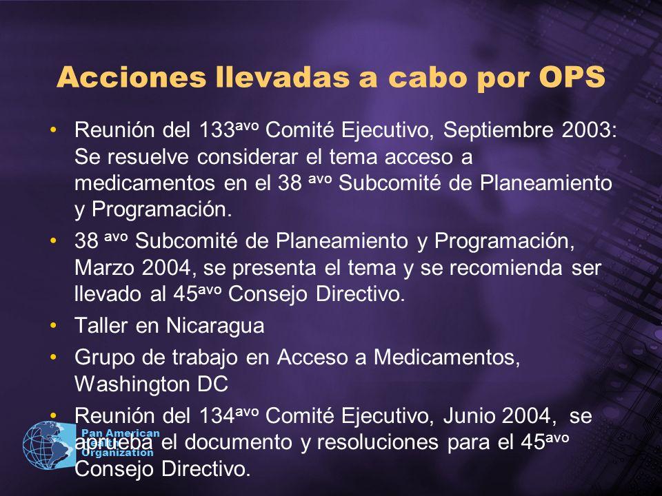 Pan American Health Organization Acciones llevadas a cabo por OPS Reunión del 133 avo Comité Ejecutivo, Septiembre 2003: Se resuelve considerar el tem