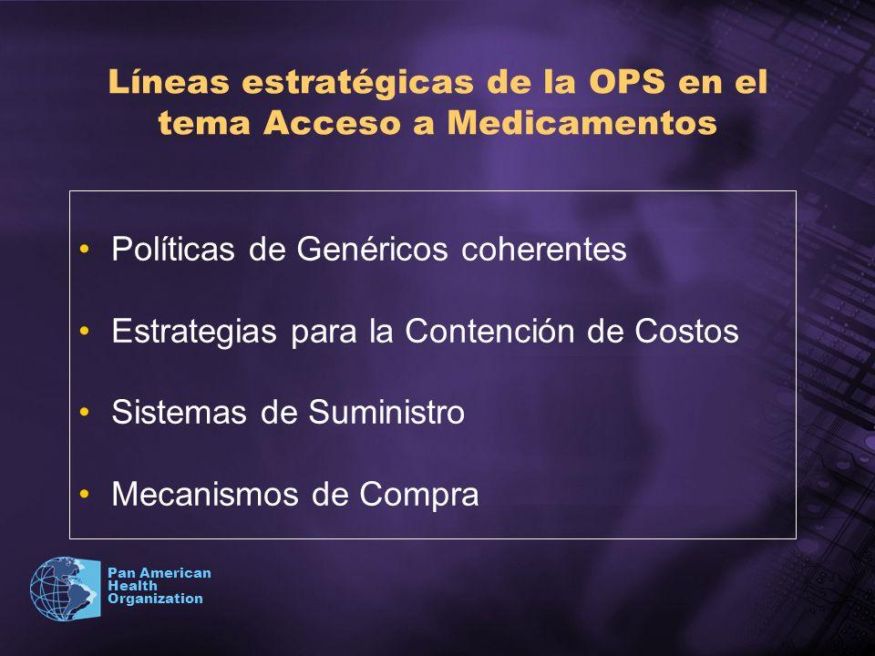 Pan American Health Organization Líneas estratégicas de la OPS en el tema Acceso a Medicamentos Políticas de Genéricos coherentes Estrategias para la