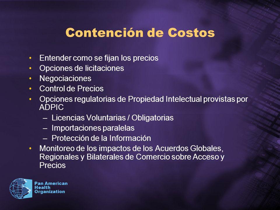 Pan American Health Organization Contención de Costos Entender como se fijan los precios Opciones de licitaciones Negociaciones Control de Precios Opc