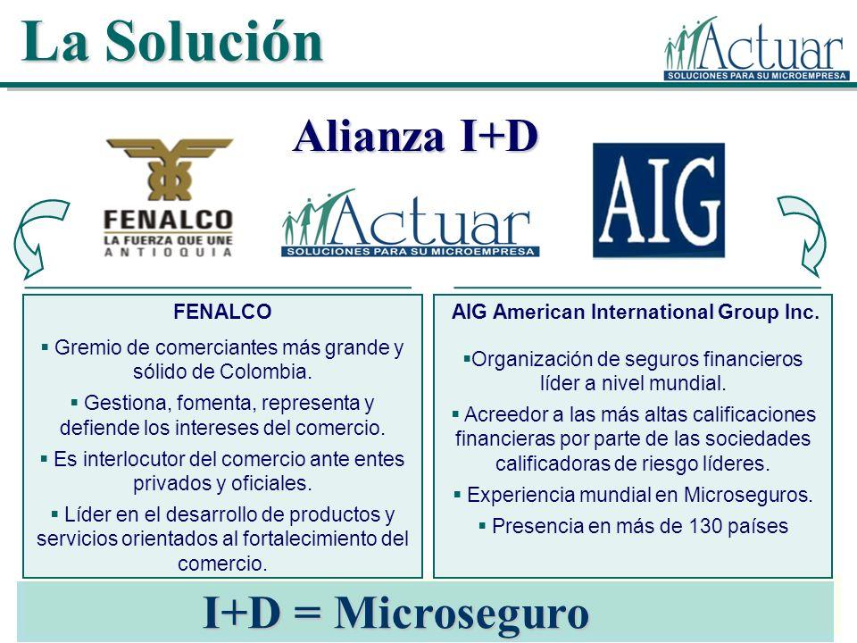 La Solución Alianza I+D I+D = Microseguro AIG American International Group Inc. Organización de seguros financieros líder a nivel mundial. Acreedor a