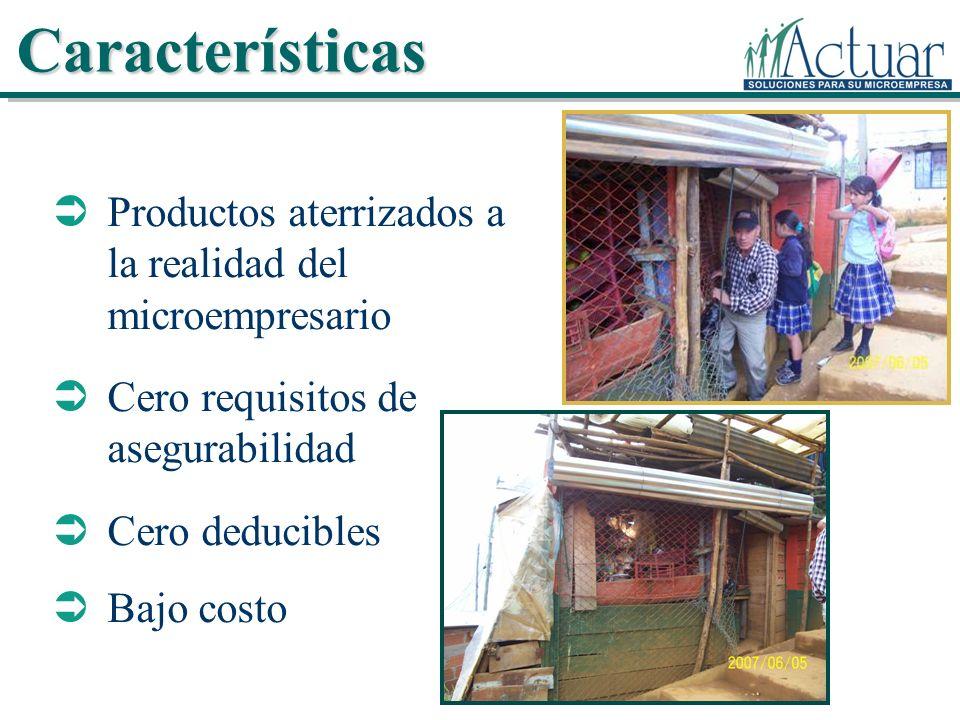 Productos aterrizados a la realidad del microempresario Cero requisitos de asegurabilidad Cero deducibles Bajo costo Características