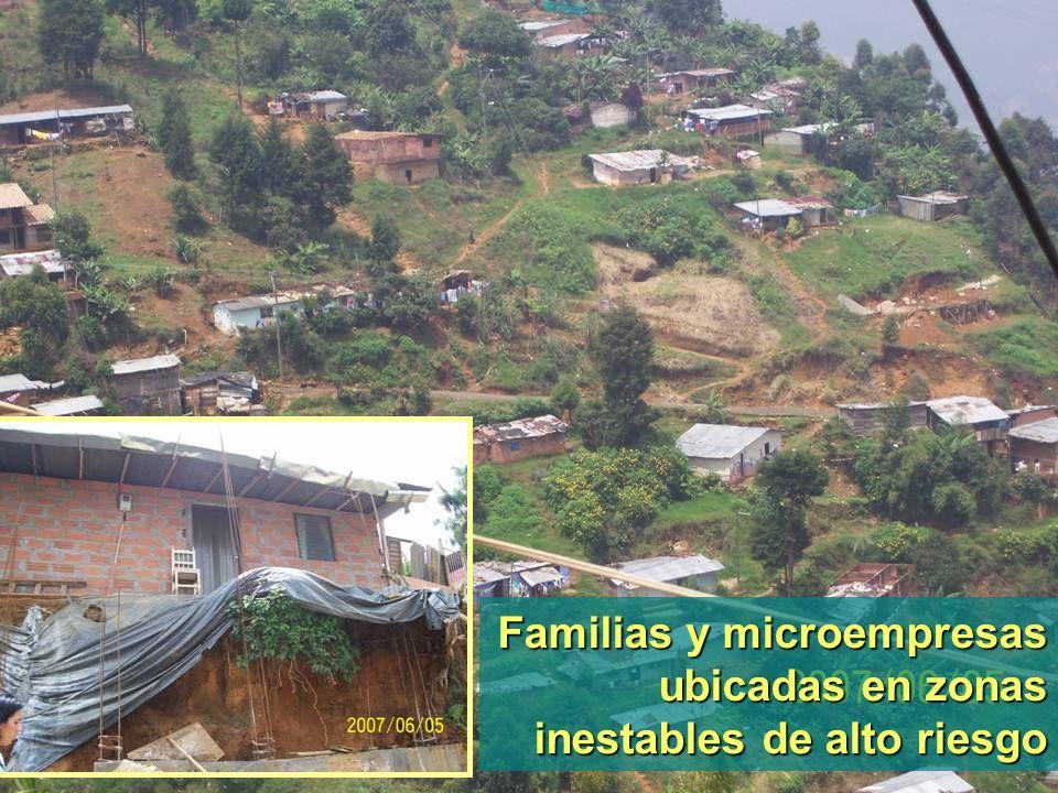 Familias y microempresas ubicadas en zonas inestables de alto riesgo