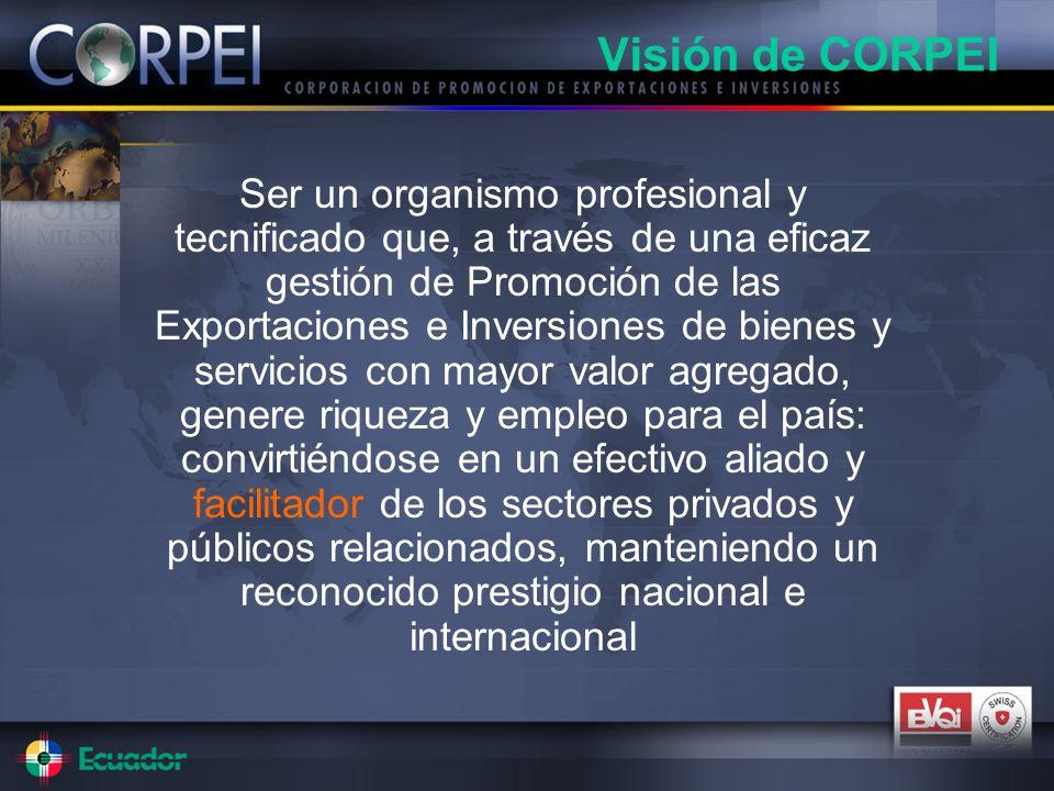 Ser un organismo profesional y tecnificado que, a través de una eficaz gestión de Promoción de las Exportaciones e Inversiones de bienes y servicios c
