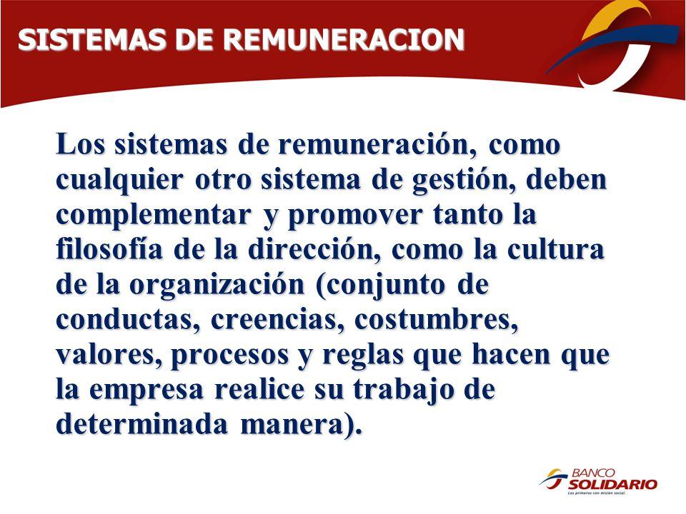 SISTEMAS DE REMUNERACION Los sistemas de remuneración, como cualquier otro sistema de gestión, deben complementar y promover tanto la filosofía de la