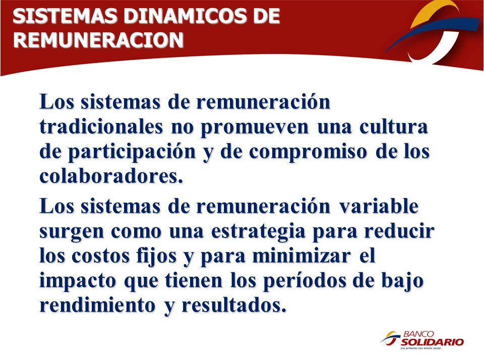 SISTEMAS DINAMICOS DE REMUNERACION Los sistemas de remuneración tradicionales no promueven una cultura de participación y de compromiso de los colabor