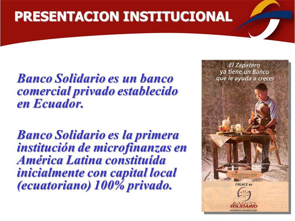 Banco Solidario es un banco comercial privado establecido en Ecuador. Banco Solidario es la primera institución de microfinanzas en América Latina con