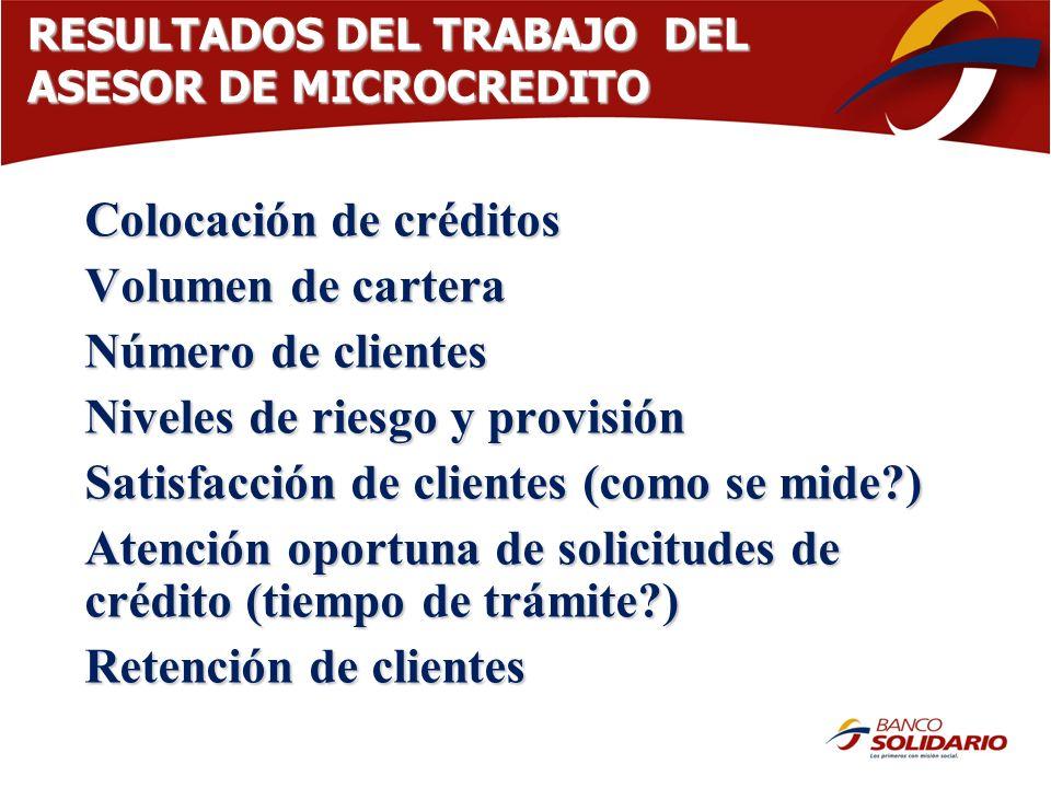 RESULTADOS DEL TRABAJO DEL ASESOR DE MICROCREDITO Colocación de créditos Volumen de cartera Número de clientes Niveles de riesgo y provisión Satisfacc