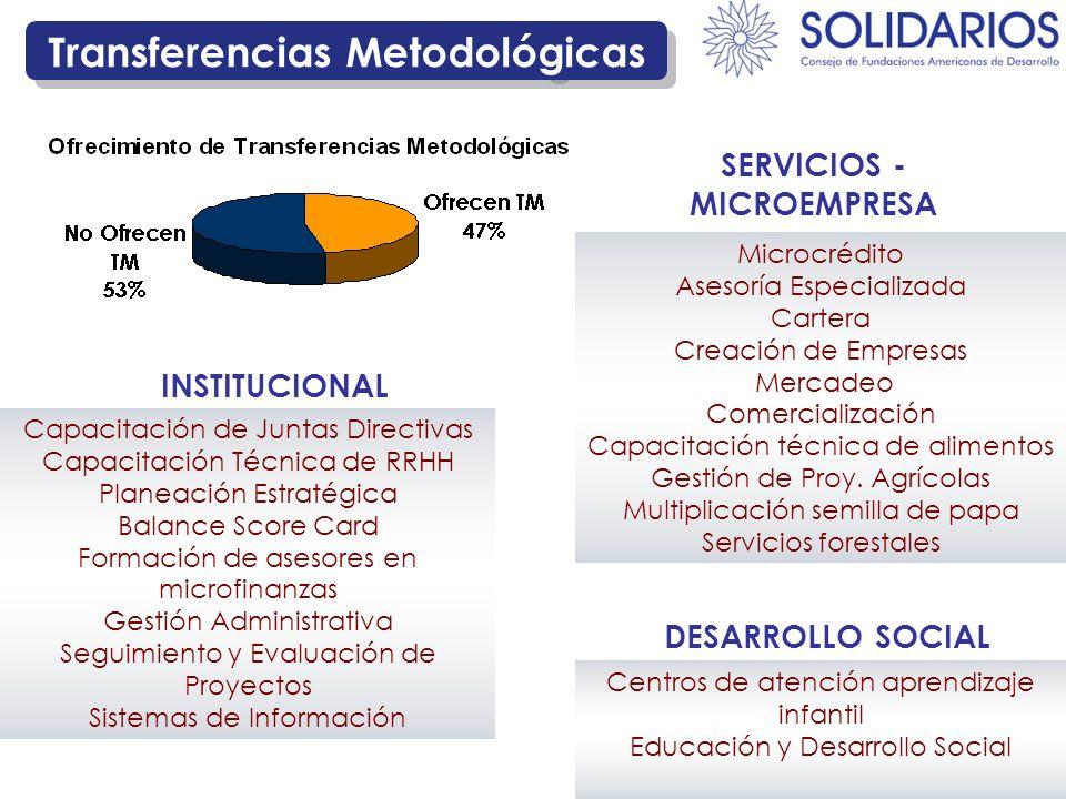 Transferencias Metodológicas Microcrédito Asesoría Especializada Cartera Creación de Empresas Mercadeo Comercialización Capacitación técnica de alimen