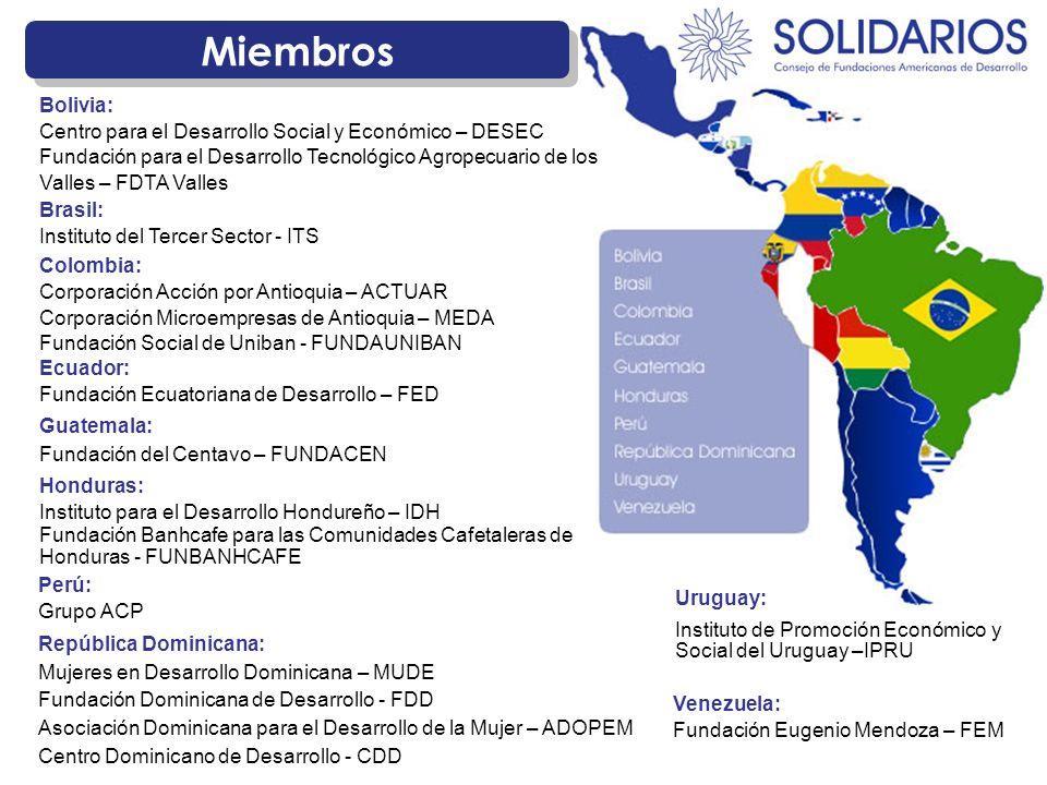 Miembros República Dominicana: Mujeres en Desarrollo Dominicana – MUDE Fundación Dominicana de Desarrollo - FDD Asociación Dominicana para el Desarrol