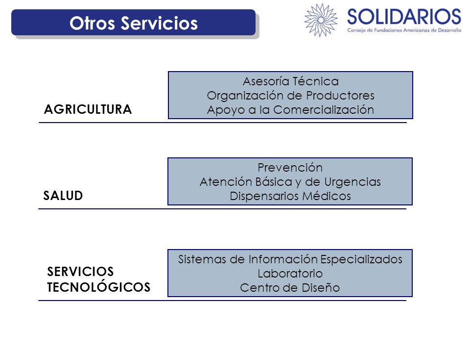 Otros Servicios Asesoría Técnica Organización de Productores Apoyo a la Comercialización AGRICULTURA Prevención Atención Básica y de Urgencias Dispens