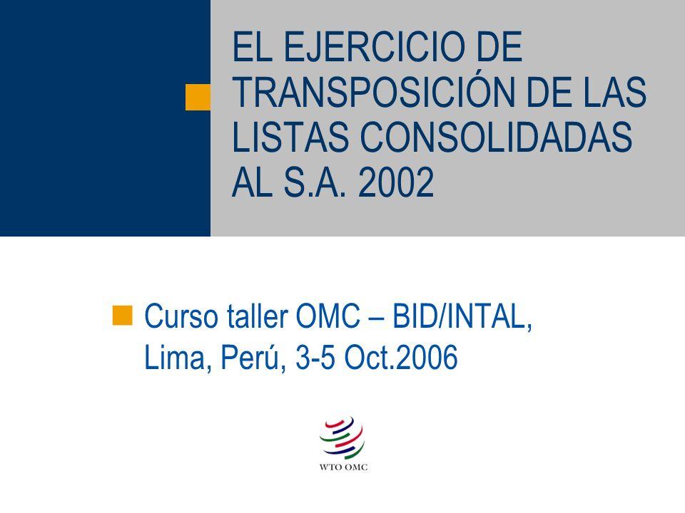 EL EJERCICIO DE TRANSPOSICIÓN DE LAS LISTAS CONSOLIDADAS AL S.A. 2002 Curso taller OMC – BID/INTAL, Lima, Perú, 3-5 Oct.2006