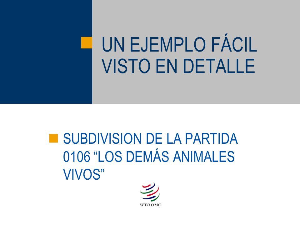 UN EJEMPLO FÁCIL VISTO EN DETALLE SUBDIVISION DE LA PARTIDA 0106 LOS DEMÁS ANIMALES VIVOS