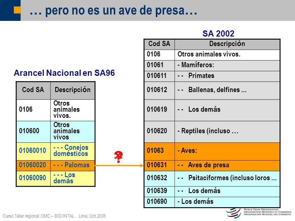 Curso Taller regional OMC – BID/INTAL Lima, Oct.2006 … pero no es un ave de presa … Cod SA Descripci ó n 0106Otros animales vivos. 01061 - Mam í feros