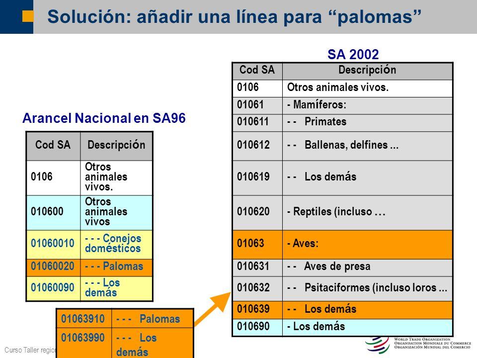 Curso Taller regional OMC – BID/INTAL Lima, Oct.2006 Solución: añadir una línea para palomas Cod SA Descripci ó n 0106Otros animales vivos. 01061 - Ma