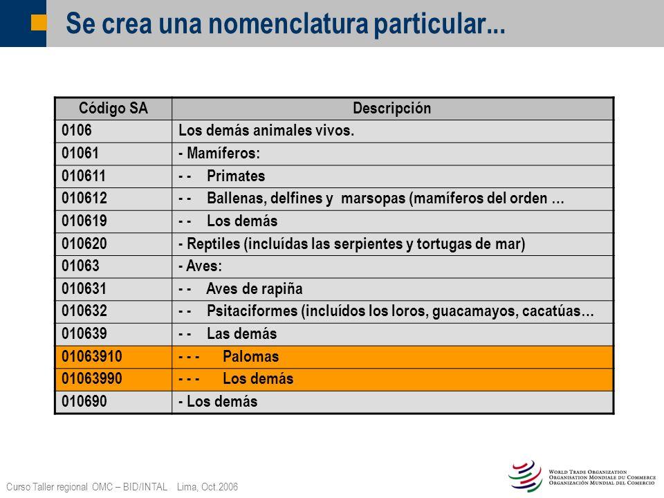 Curso Taller regional OMC – BID/INTAL Lima, Oct.2006 Se crea una nomenclatura particular... Código SADescripción 0106Los demás animales vivos. 01061-