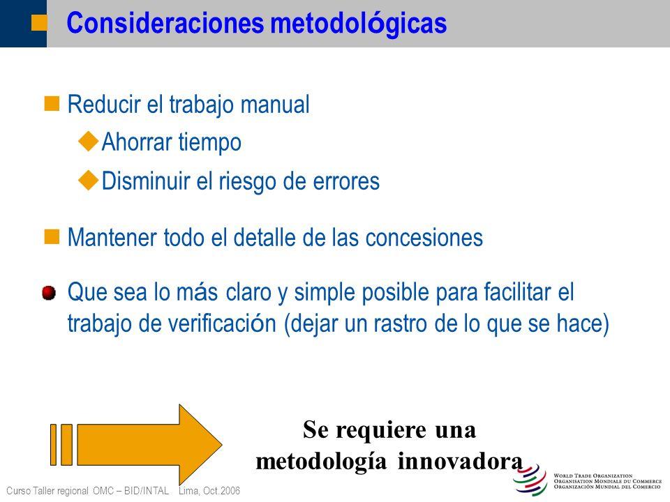 Curso Taller regional OMC – BID/INTAL Lima, Oct.2006 Consideraciones metodol ó gicas Reducir el trabajo manual Ahorrar tiempo Disminuir el riesgo de e