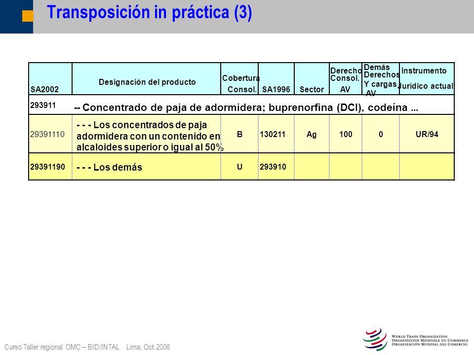 Curso Taller regional OMC – BID/INTAL Lima, Oct.2006 Transposición in práctica (3) SA2002 Designación del producto Cobertura Consol.SA1996Sector Derec