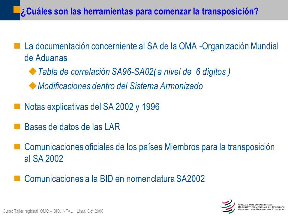 Curso Taller regional OMC – BID/INTAL Lima, Oct.2006 ¿ Cuáles son las herramientas para comenzar la transposición? La documentación concerniente al SA