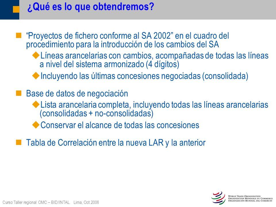 Curso Taller regional OMC – BID/INTAL Lima, Oct.2006 ¿Qué es lo que obtendremos? Proyectos de fichero conforme al SA 2002 en el cuadro del procedimien