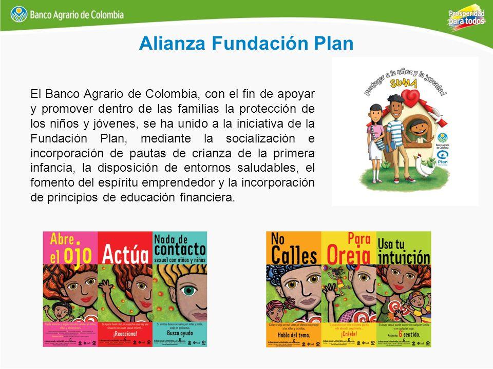 Alianza Fundación Plan El Banco Agrario de Colombia, con el fin de apoyar y promover dentro de las familias la protección de los niños y jóvenes, se h