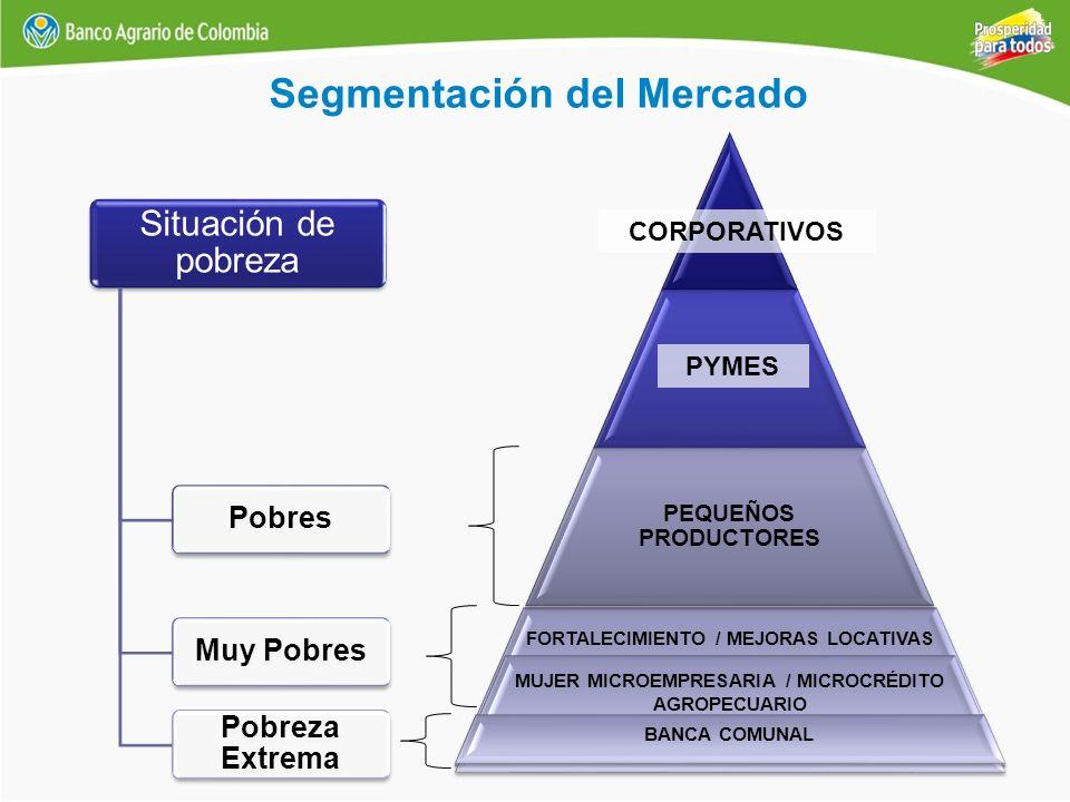 FORTALECIMIENTO / MEJORAS LOCATIVAS MUJER MICROEMPRESARIA / MICROCRÉDITO AGROPECUARIO PEQUEÑOS PRODUCTORES CORPORATIVOS PYMES Segmentación del Mercado