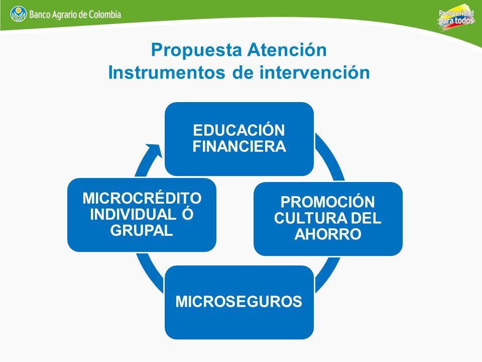 Propuesta Atención Instrumentos de intervención EDUCACIÓN FINANCIERA PROMOCIÓN CULTURA DEL AHORRO MICROSEGUROS MICROCRÉDITO INDIVIDUAL Ó GRUPAL