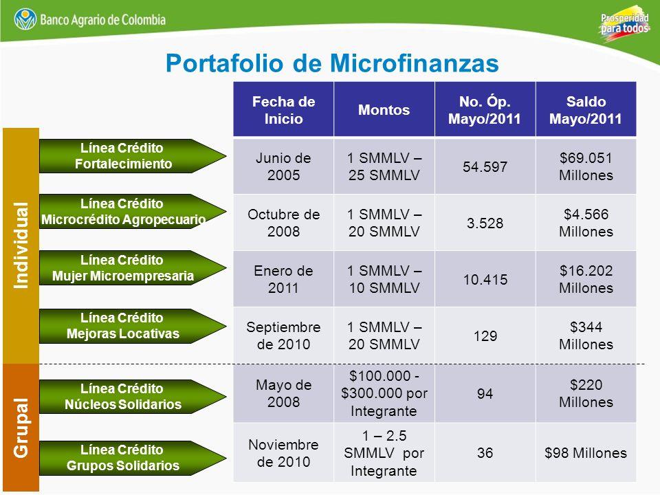 Portafolio de Microfinanzas Individual Línea Crédito Mejoras Locativas Línea Crédito Fortalecimiento Línea Crédito Microcrédito Agropecuario Línea Cré