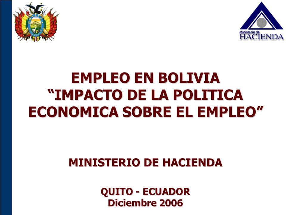 EMPLEO EN BOLIVIA IMPACTO DE LA POLITICA ECONOMICA SOBRE EL EMPLEO MINISTERIO DE HACIENDA QUITO - ECUADOR Diciembre 2006