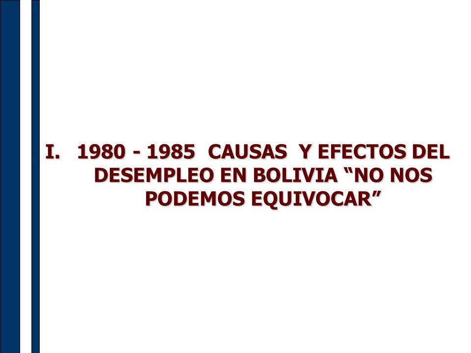 I.1980 - 1985 CAUSAS Y EFECTOS DEL DESEMPLEO EN BOLIVIA NO NOS PODEMOS EQUIVOCAR