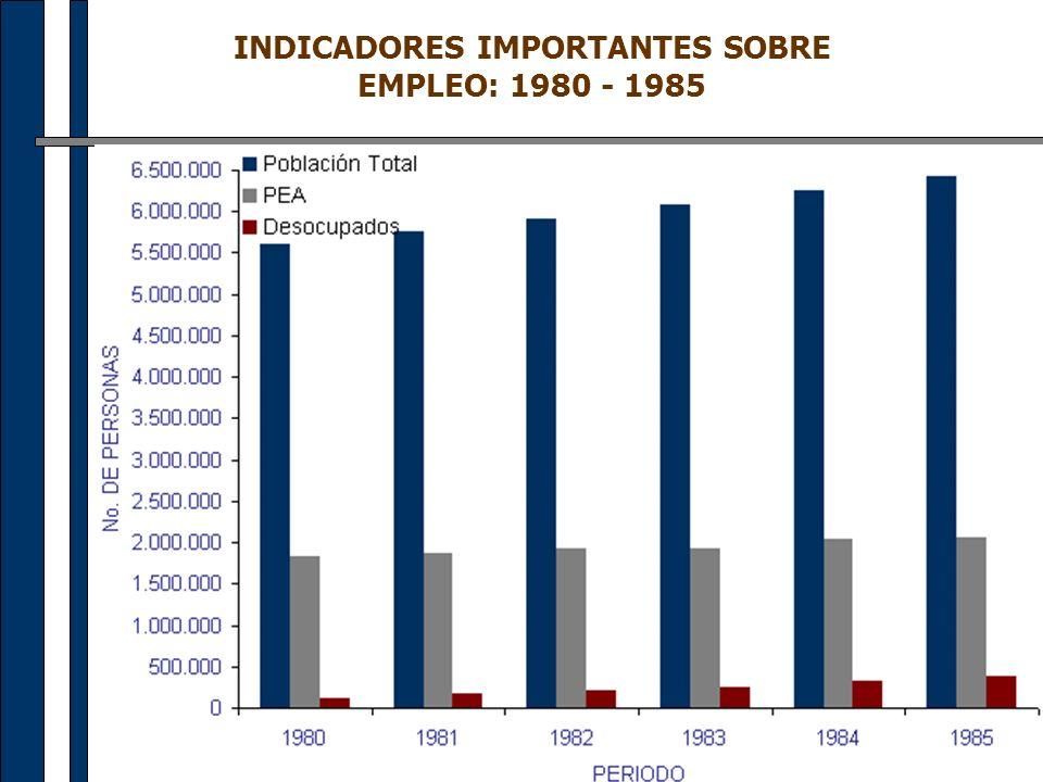 INDICADORES IMPORTANTES SOBRE EMPLEO: 1980 - 1985